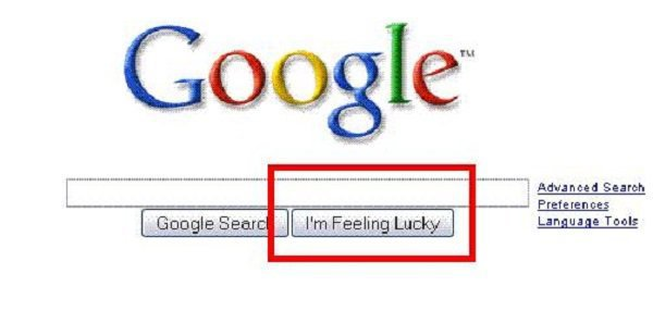 Thanks to Google Instant, you can't actually use the 'I'm Feeling Lucky' button anymore 'Google Instant' starts searching for whatever you type as soon as you type it, thereby leaving no time or possibility to click that button. The 'I'm Feeling Lucky' button apparently cost the company $110 million every year, because it would bypass all ads to go to the top search immediately.