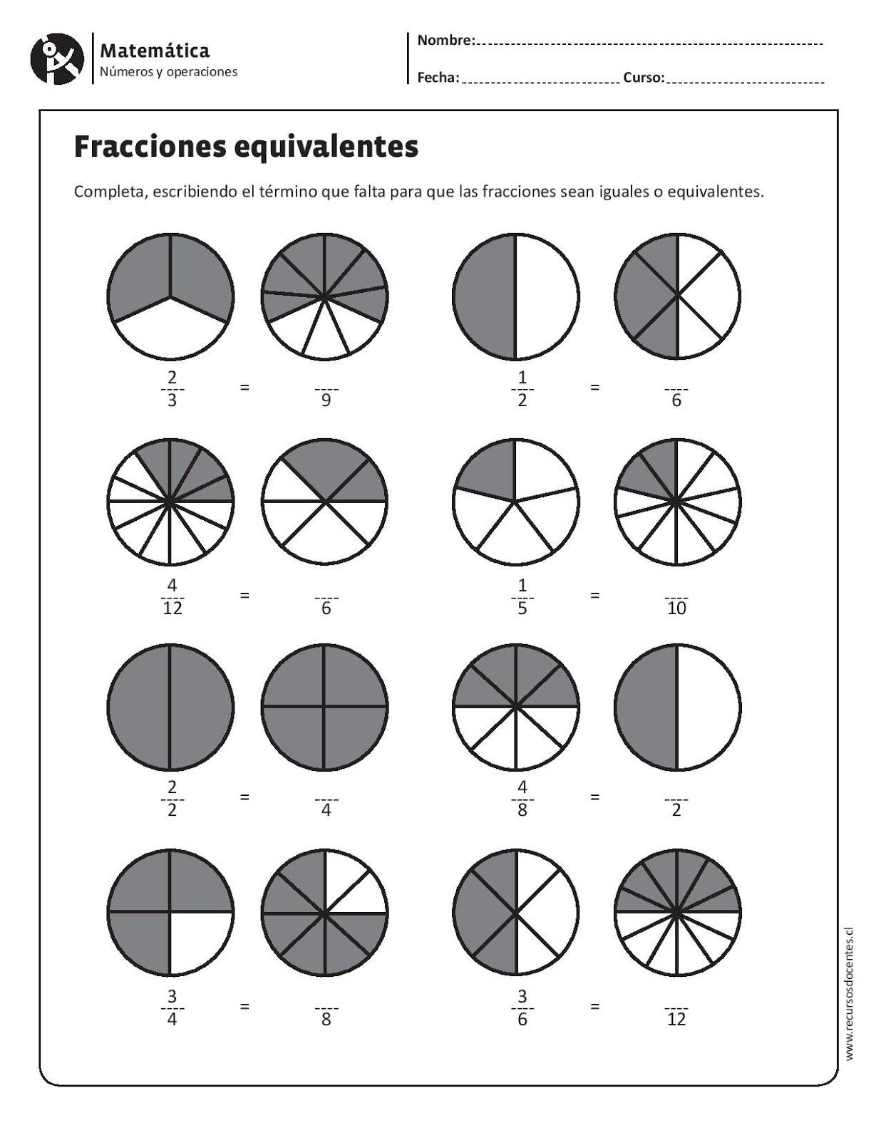 Matemáticas Las Fracciones Equivalentes