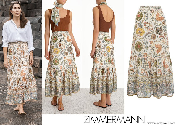 Crown Princess Mary wore ZIMMERMANN Edie floral-print linen maxi skirt