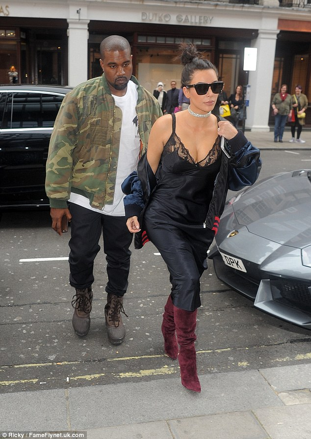 Kim Kardashian wears lingerie inspired slip dress on lunch date with Kanye West