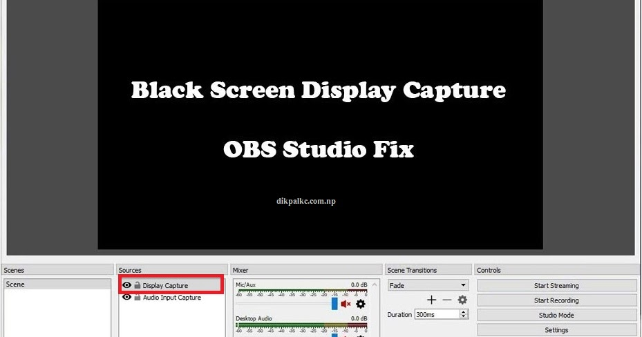 Fix OBS Studio and Streamlab OBS Black Screen in Display