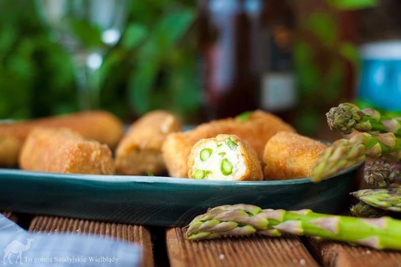 Krokiety serowo-szparagowe, krokiety serowo ziemniaczane ze szparagami
