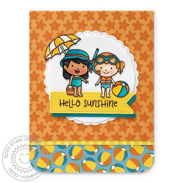 "Sunny Studio Stamps: Coast Cuties Beach Themed ""Hello Sunshine"" Card (using Summer Splash 6x6 Paper)"