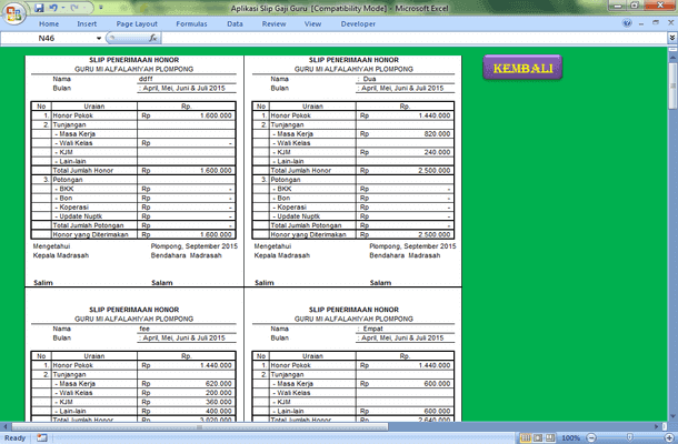 Aplikasi Slip Gaji Guru Format Microsoft Excel