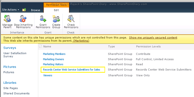sharepoint 2010 send to Permissions