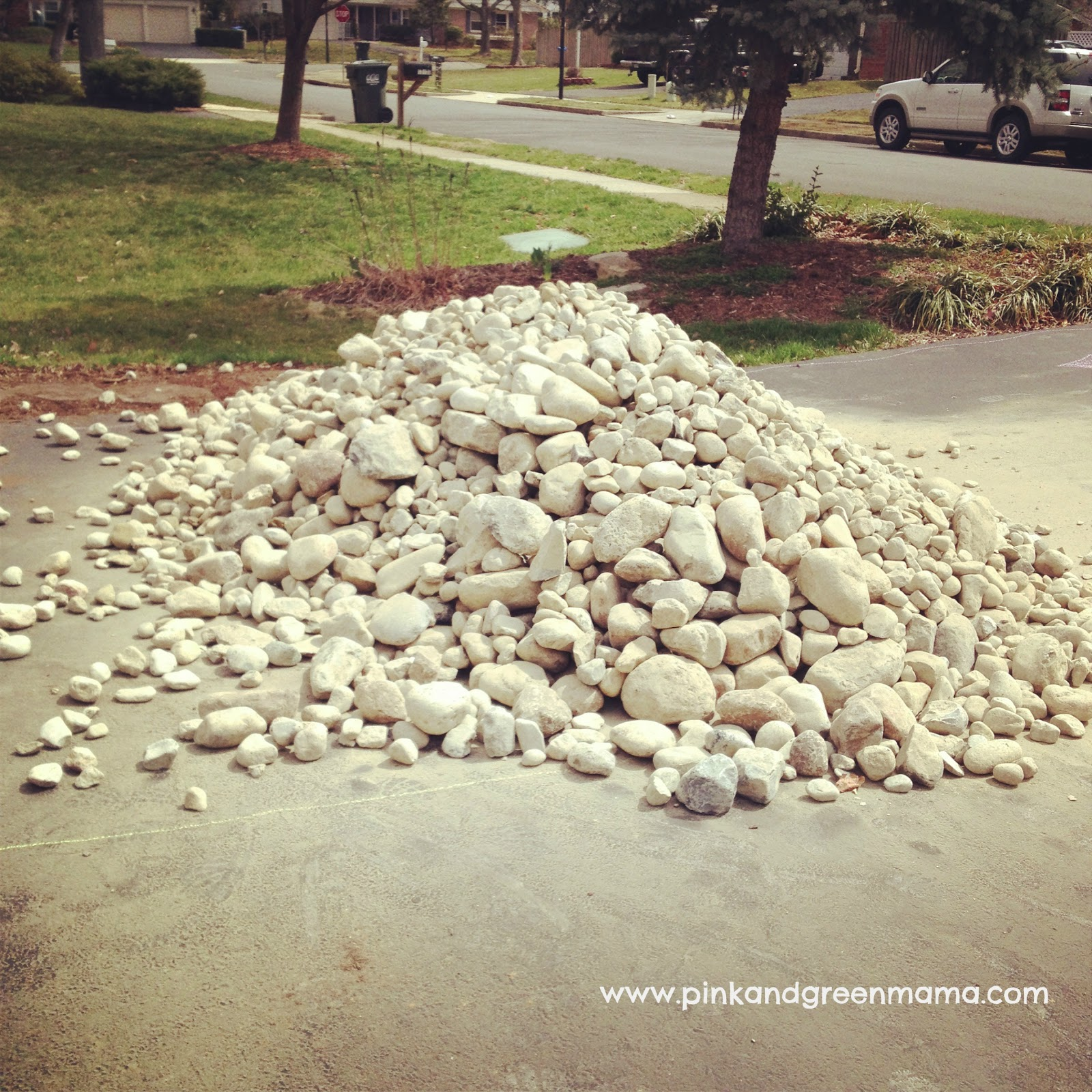 10 Ton River Rock : Pink and green mama diy backyard makeover on a budget