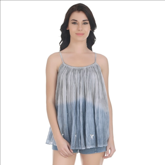 Blue Grey Tie And Dye Strappy Top