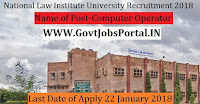 National Law Institute University Recruitment 2018- Computer Operator