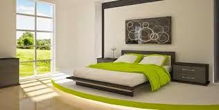 Dormitorio en gris y verde