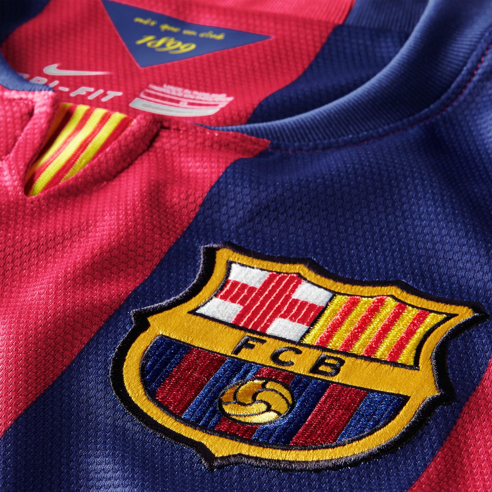 141e6b4b5e4 The Barcelona 14-15 Home Shorts are dark blue with a yellow Nike swoosh and  red lines on both sides. The new Barcelona 14-15 Home Kit ...