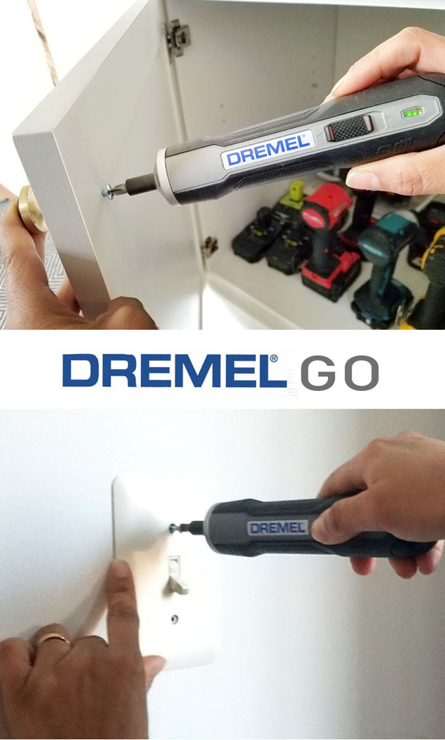 Using a Dremel GO to install cabinet door knobs and switch plates on the wall.