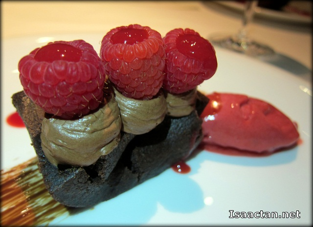 Chocolate Cake with Raspberry Sorbet and Raspberry Sauce