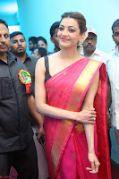 Kajal Aggarwal in Red Saree Sleeveless Black Blouse Choli at Santosham awards 2017 curtain raiser press meet 02.08.2017 020.JPG