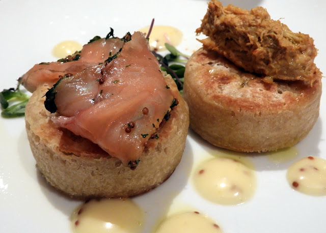 Toasted Homemade Crumpets Home-Cured Salmon Gravadlax, Fresh Local Handpicked Crab Tartare, Honey Mustard Dressing,