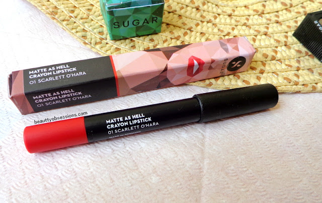 "Sugar Cosmetics Matte As Hell Lip Crayon "" SCARLETT O'HARA "" - Review & Swatches"