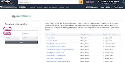 Cercare una Lista Nascita su Amazon