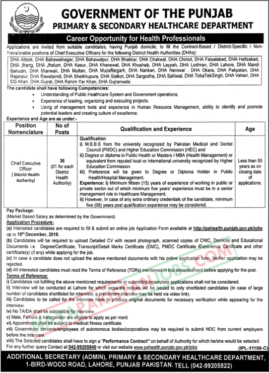 PShealth.punjab.gov.pk/Jobs, Latest Vacancies Announced in Primary And Secondary Healthcare Department 25 Nov 2018 - Naya Pakistan