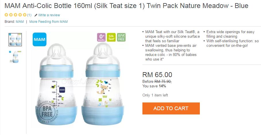 Botol susu jenama MAM murah di LAZADA