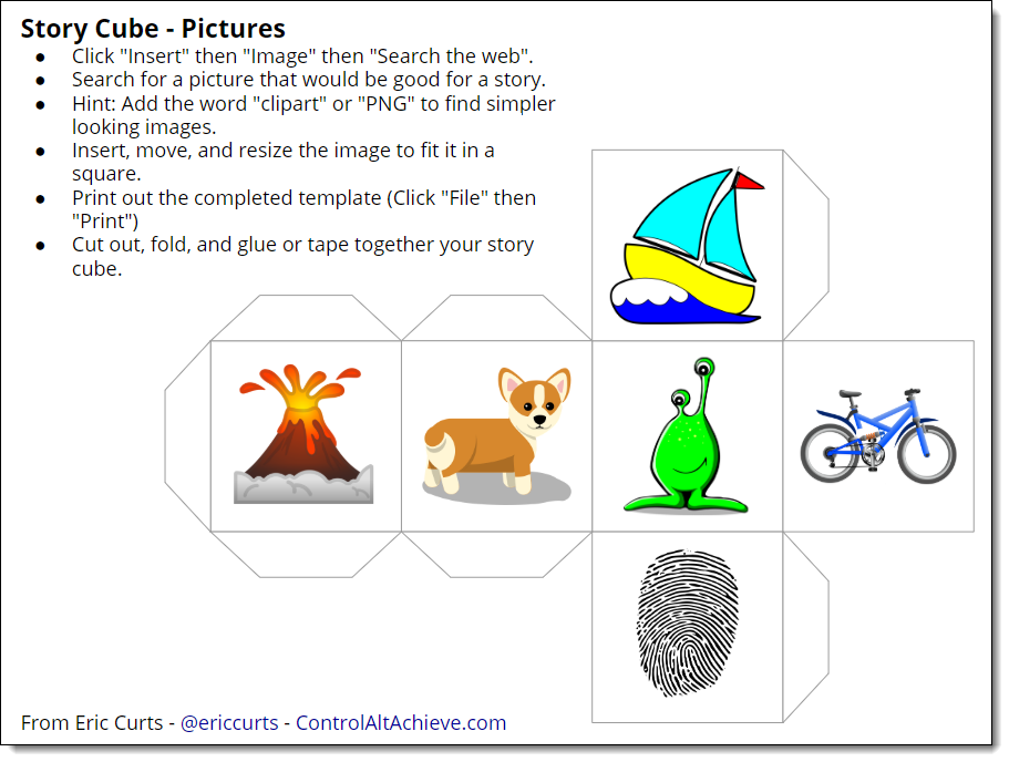 Control Alt Achieve Create Your Own Story Cubes With Google Drawings