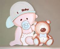 silueta de madera infantil bebé con osito I love baby babydelicatessen