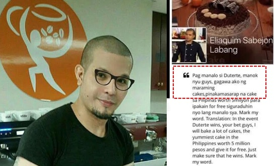 Pastry chef who vowed to give P5-million-worth of cakes if Duterte wins