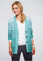 Jachetă tricotată din fire melanj într-o cromatică degrade originală