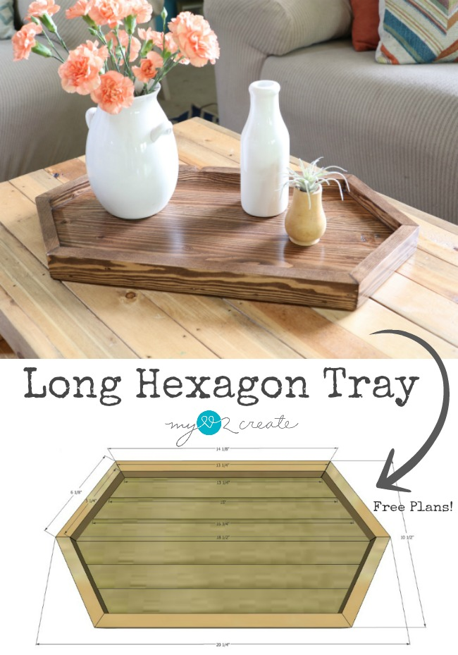 Free Long Hexagon Tray Plans, build your own unique decorative tray for your home, MyLove2Create