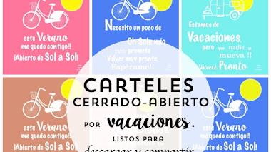 Carteles de cerrado por vacaciones para descargar o imprimir, Gratis!!