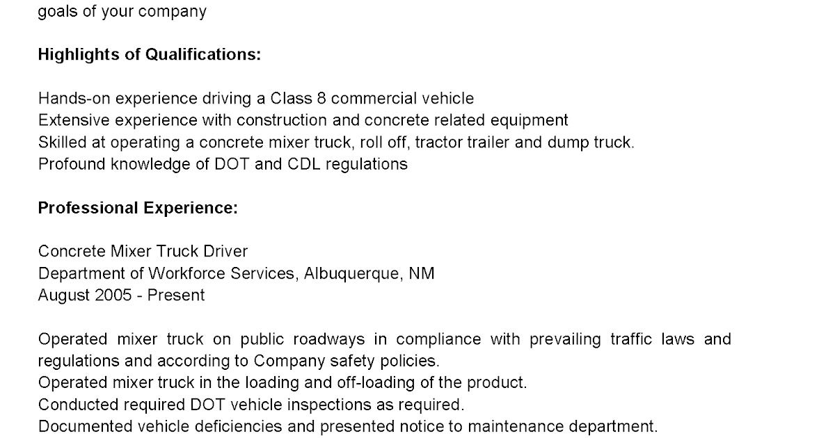 Driver Resumes Concrete Mixer Truck Driver Resume Sample