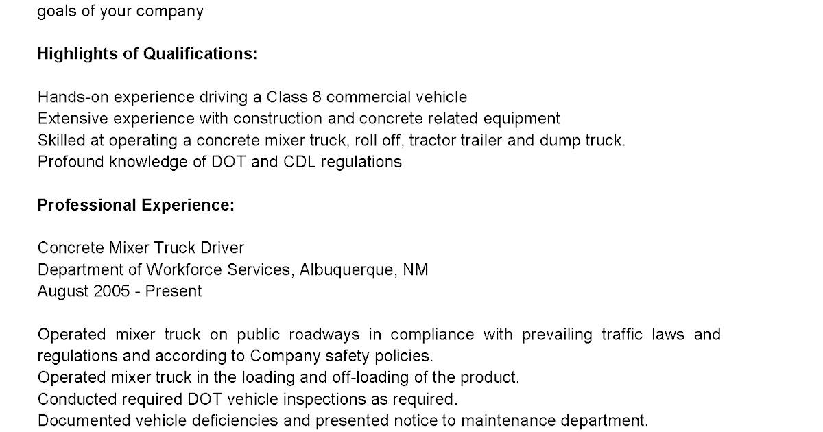 sample resume for concrete driver concrete mixer truck driver resume sample best format driver resumes concrete - Sample Resume Truck Driver