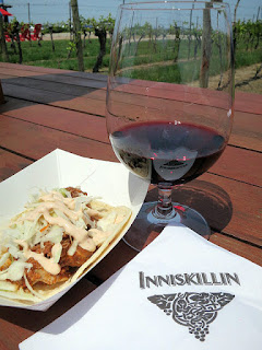 Grilled Chicken Taco spiced with Chipotle and topped with Avocado and paired with 2013 Inniskillin Reserve Shiraz Cabernet