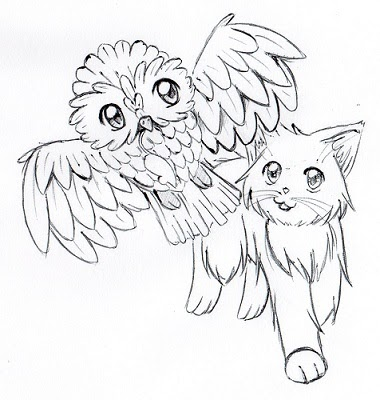 Drawing Kitty: Katze und Eule
