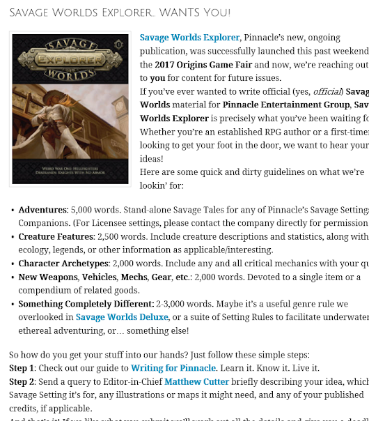 Savage Worlds Explorer by Pinnacle Entertainment Group: Submissions Open