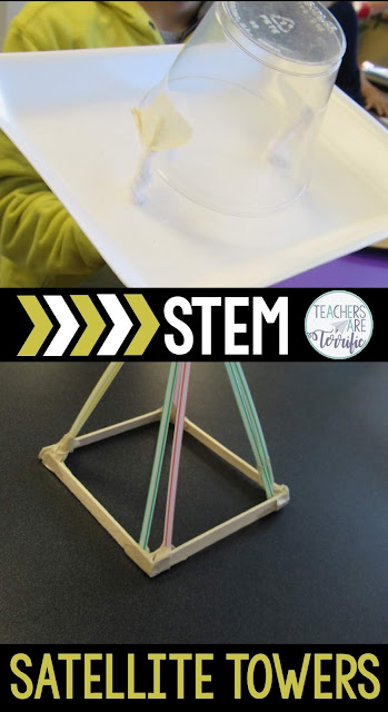 STEM Challenge: Build a satellite tower! Students had to work as two separate teams. One half of the team built the satellite dish while the other half built the tower. Then they had to connect them together and the dish had to be movable. This is a perfect challenge for your elementary students for the start of school- using only one easy material. KIds love this and you will love watching them make a chain from only paper! This blog post will tell you more! #STEM #backtoschool
