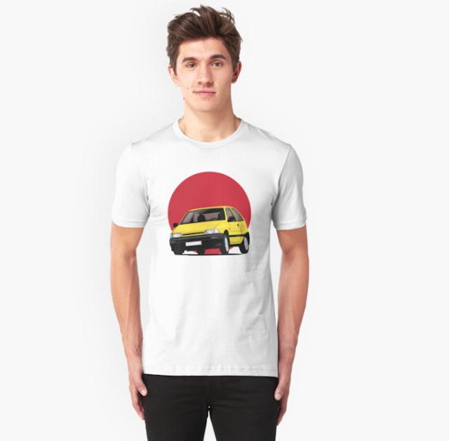 Daihatsu Charade with rising sun t-shirts