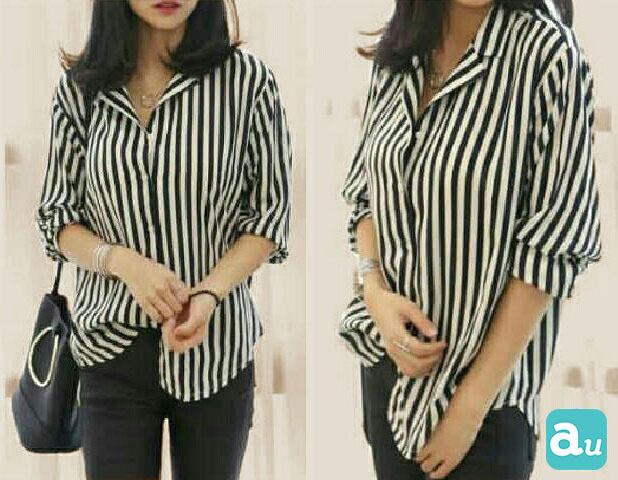 Jual Baju Lengan Panjang Carolina Stripes Top - 13242