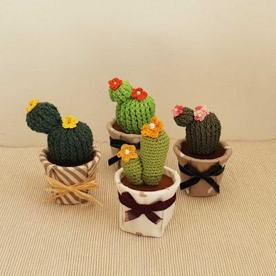 Cactus uncinetto vasetto ricoperto