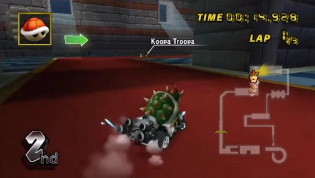 Mario Kart Wii Koopa Troopa littering banana peel in Bowser's Castle