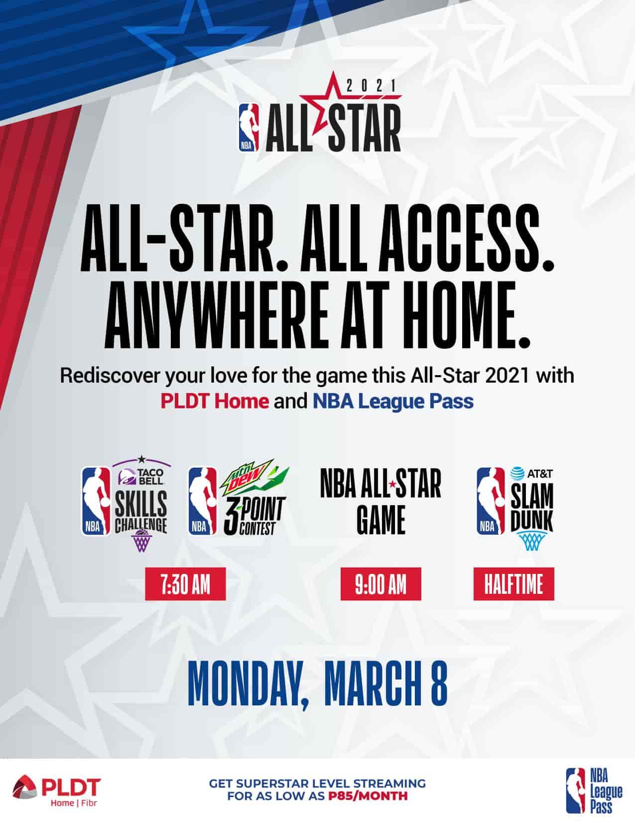 PLDT Home Fibr NBA League Pass poster schedule of shows