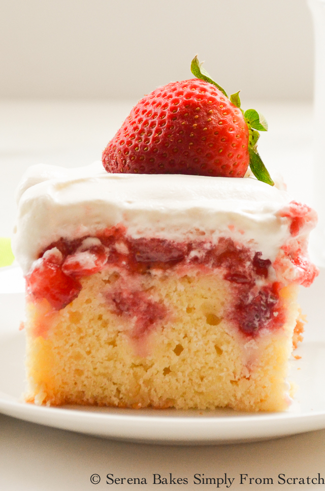 Top 10 Recipes of 2016 Strawberry Shortcake Poke Cake on serenabakessimplyfromscratch.com