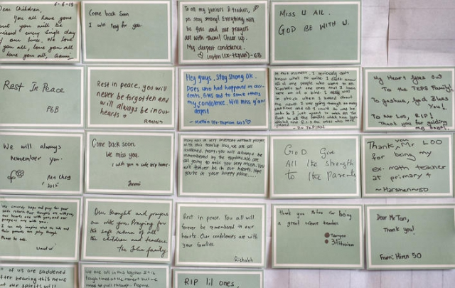 Some of the notes written by friends, family members, alumni and well-wishes for those from Tanjong Katong Primary School who died or are missing from the Sabah earthquake.