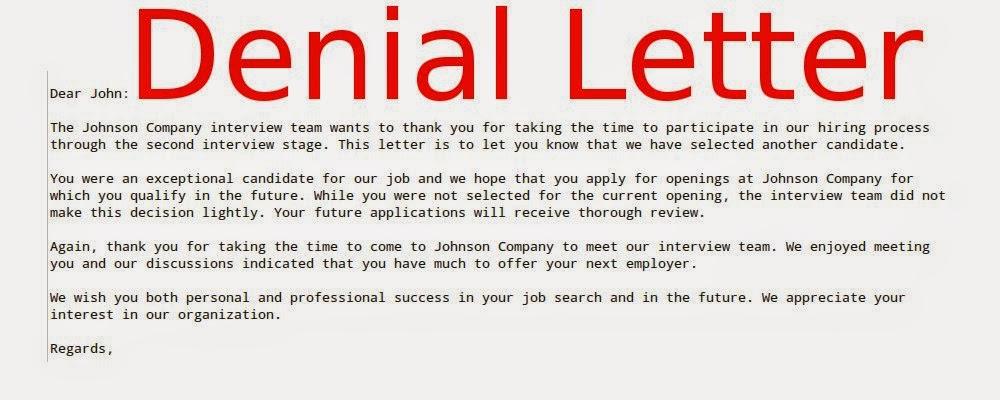 Sample Appeal Letter For Employment Denial