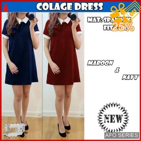 AFO140 Model Fashion Colage Dress Modis Murah BMGShop
