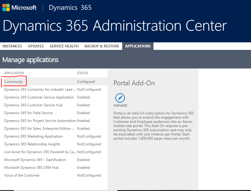 select the community portal from the application area and click manage