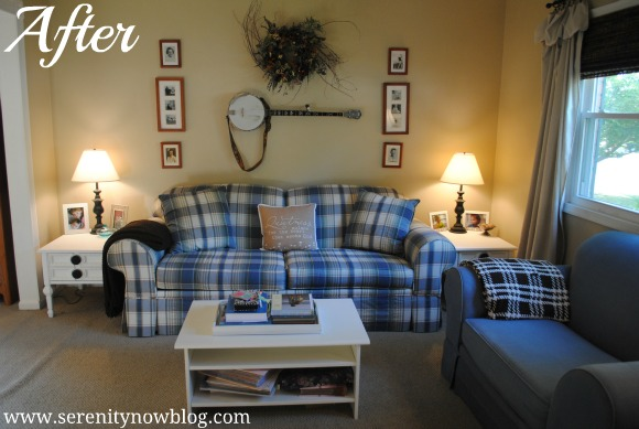 Family Room with Thrift Store End Tables, Serenity Now blog