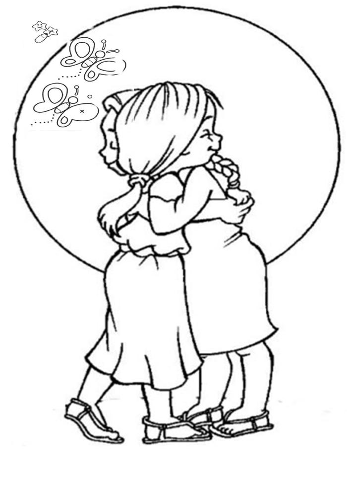 Amigas Se Abraçando Desenhos Frozen Galinha Pintadinha