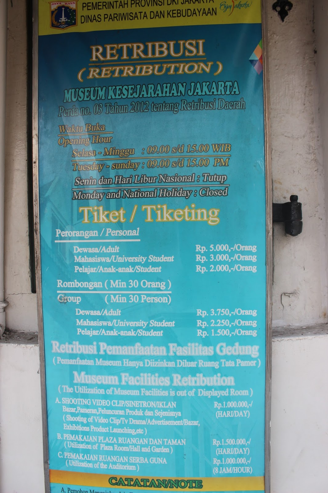 Exploring Museums In Jakarta Tiket Dewasa Japan Rail 21 Hari Admission Information
