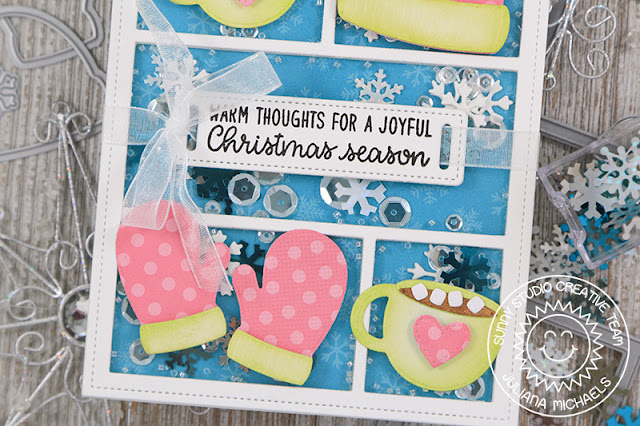 Sunny Studio Stamps: Warm & Cozy Fancy Frames Comic Strip Everyday Dies Christmas Shaker Card by Juliana Michaels