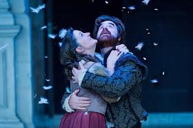 Alice Privett as Mimi and Stephen Aviss as Rodolfo in  La Boheme  at Opera Holland Park. Photographer  Robert Workman