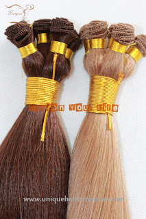 blond hand tied hair wefts